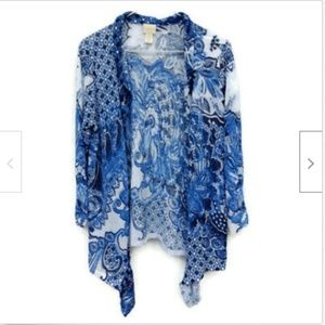 Chicos blue ruffle open front cardigan size M